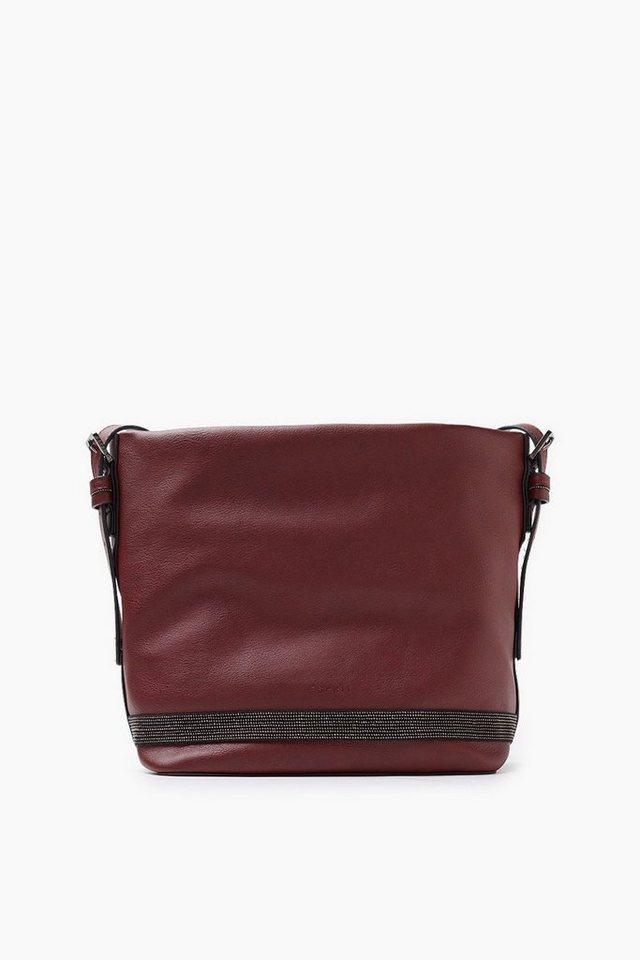 ESPRIT CASUAL Mit Metallperlen: Tasche in Lederoptik in GARNET RED