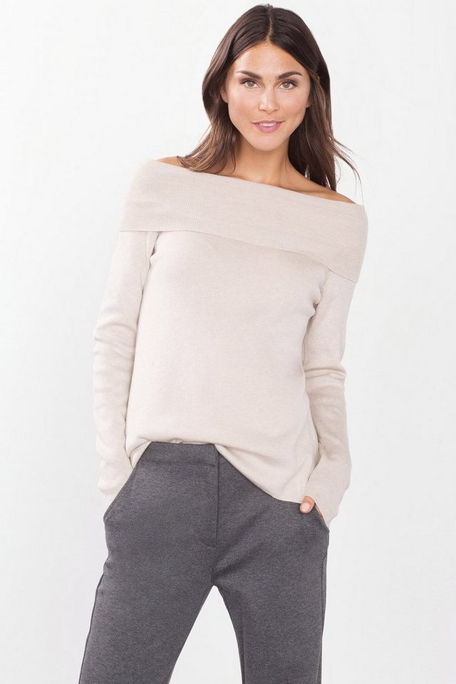 ESPRIT CASUAL Off-Shoulder-Pulli aus weichem Ripp in CREAM BEIGE