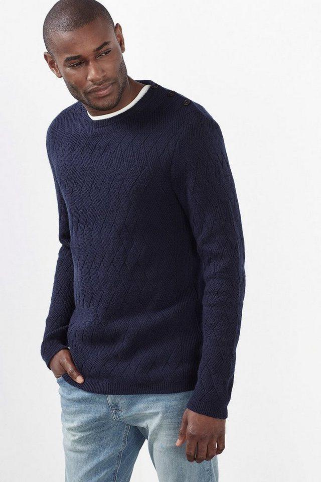 ESPRIT COLLECTION Baumwoll/Woll Pullover mit Strukturmuster in NAVY