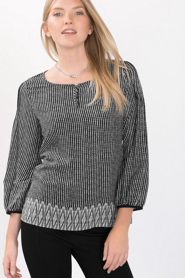 ESPRIT CASUAL Fließende Tunika-Bluse mit Minimal-Print in BLACK