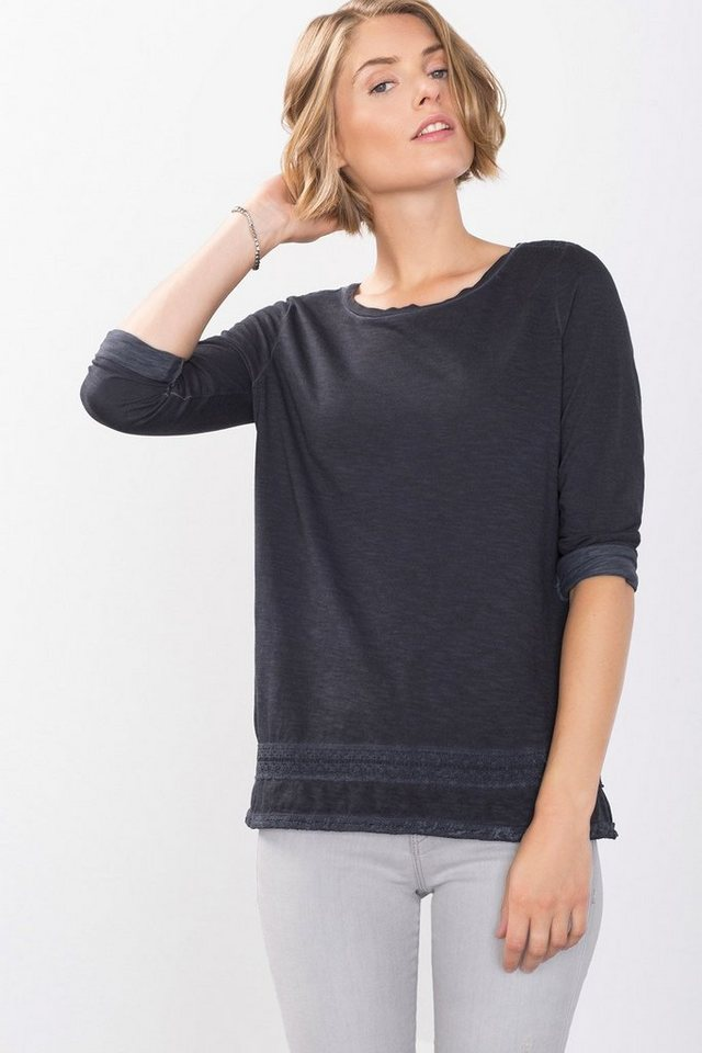ESPRIT CASUAL Baumwoll Shirt mit Häkelspitze in ANTHRACITE