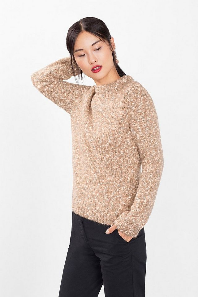 EDC Melierter Grobstrick-Pulli mit Wolle in NUDE