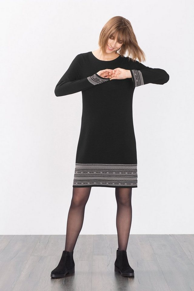 EDC Stretchiges Strickkleid mit Intarsien in BLACK