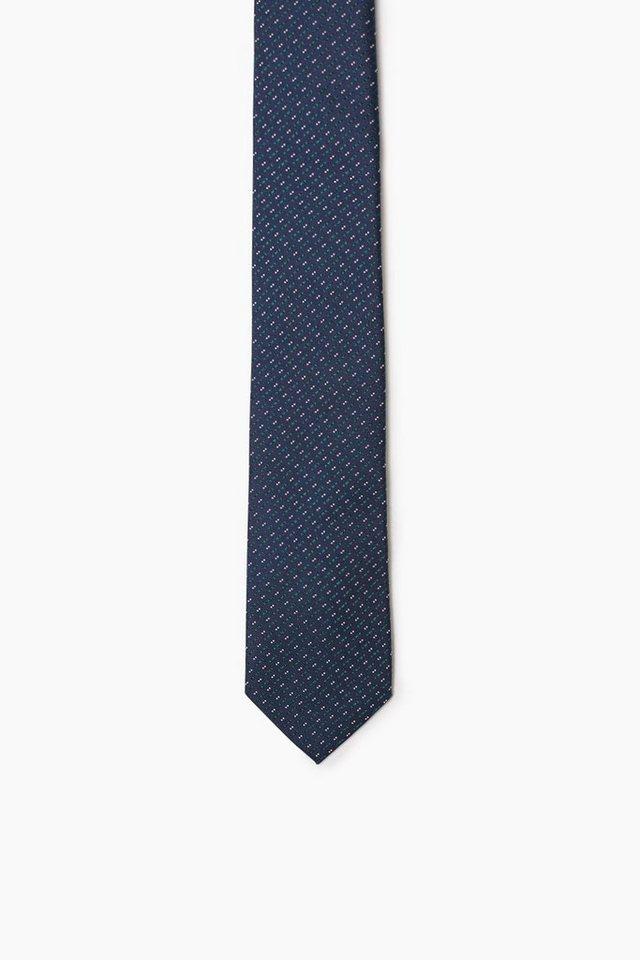 ESPRIT COLLECTION Krawatte mit Punkten, 100% Seide in DARK TEAL GREEN