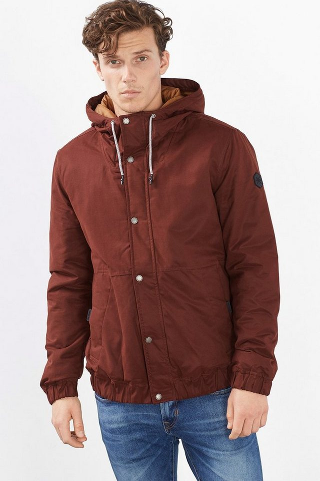 EDC Wattierte Blouson-Jacke mit Kapuze in BORDEAUX RED