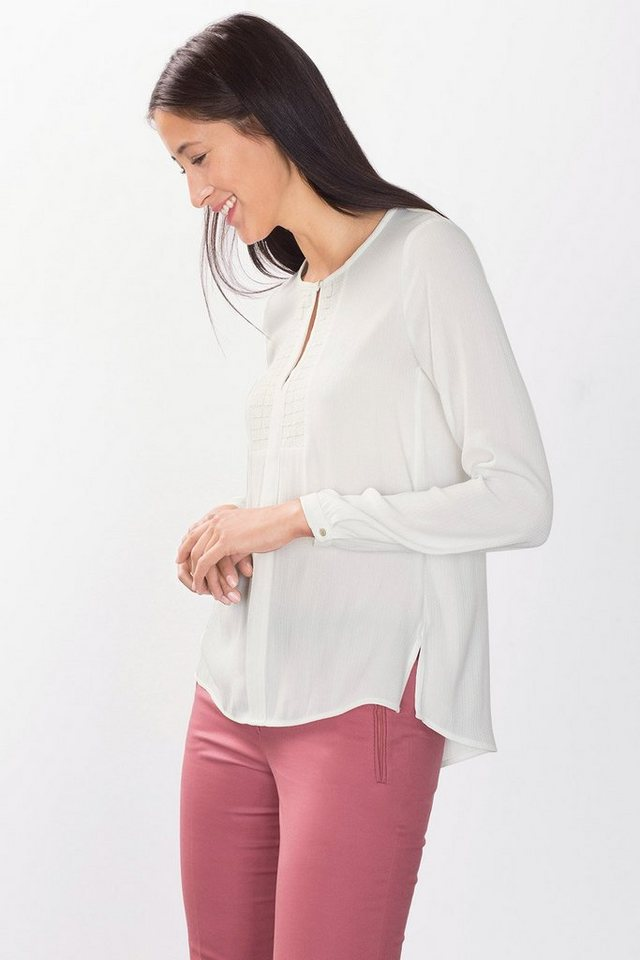 ESPRIT COLLECTION Crepe Jacquard Bluse mit Spitze in OFF WHITE