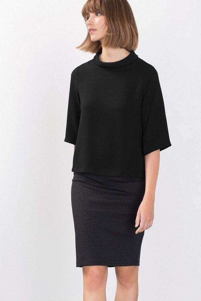 ESPRIT COLLECTION Crepe Blusen-Shirt mit Umschlagkragen in BLACK