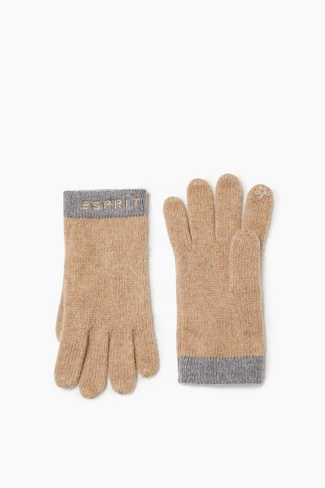 ESPRIT CASUAL Touchscreen Handschuhe aus Woll-Mix in CAMEL