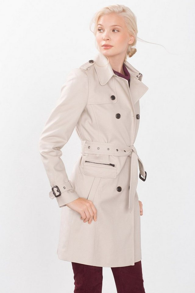ESPRIT COLLECTION Satinierter Trenchcoat mit Akzentknöpfen in BEIGE