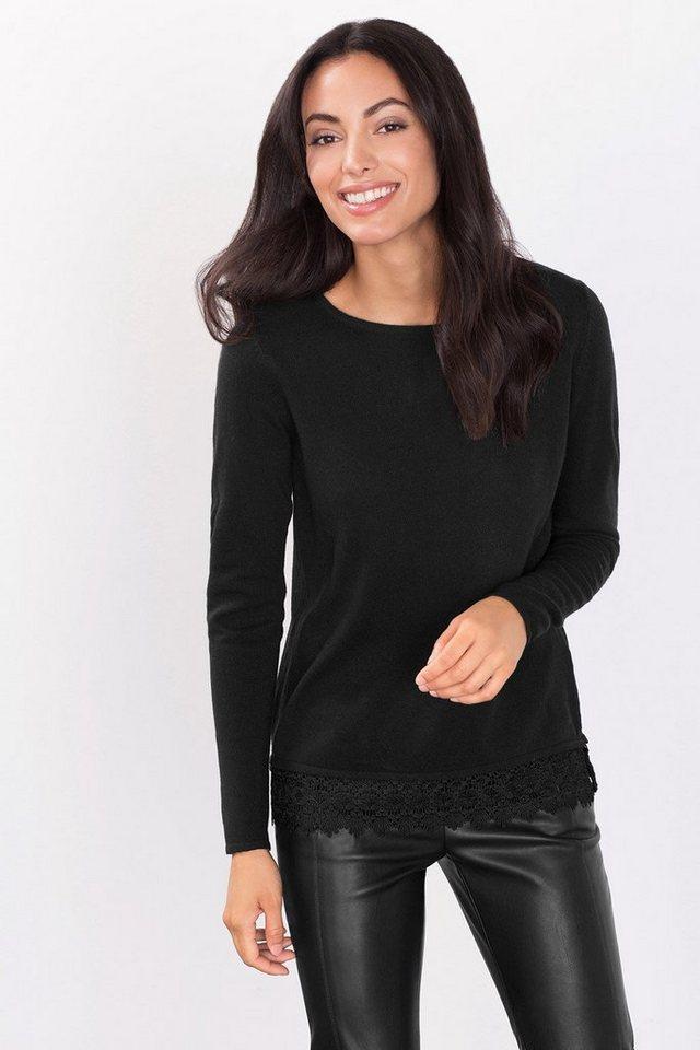 ESPRIT COLLECTION Sweater mit Spitzen-Akzent und Kaschmir in BLACK