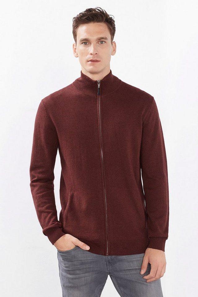 ESPRIT CASUAL Zipp-Cardigan aus Baumwolle mit Kaschmir in BORDEAUX RED