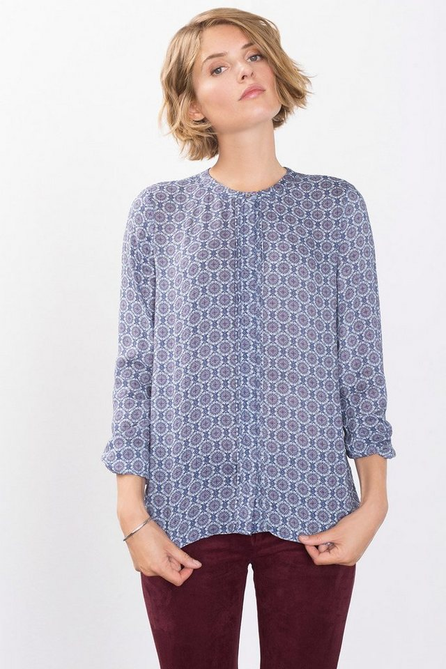 ESPRIT COLLECTION Fließende Print-Bluse mit Biesen in DARK BLUE