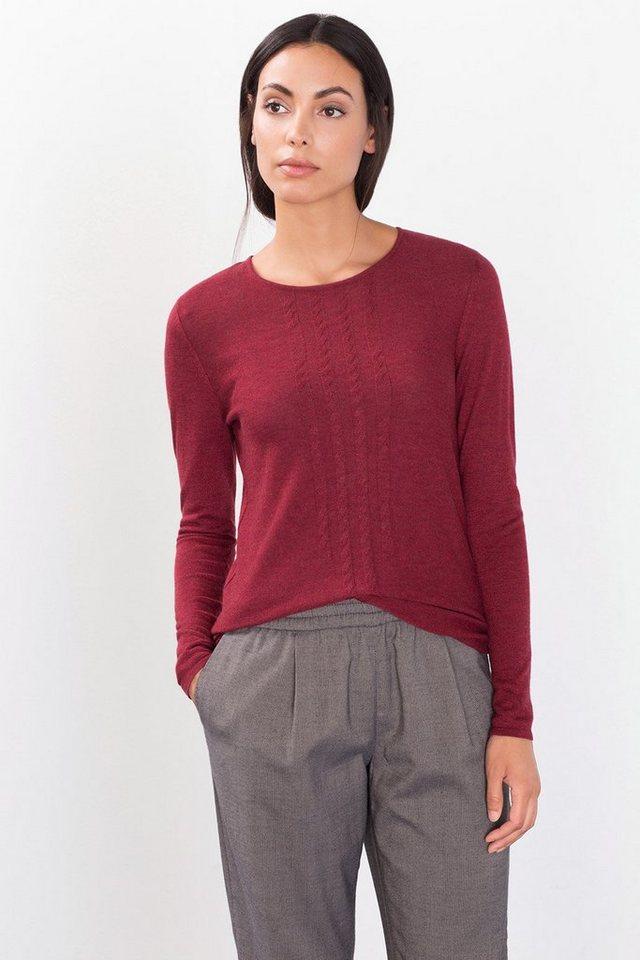 ESPRIT COLLECTION Feinstrick-Sweater mit Zopfmuster in GARNET RED