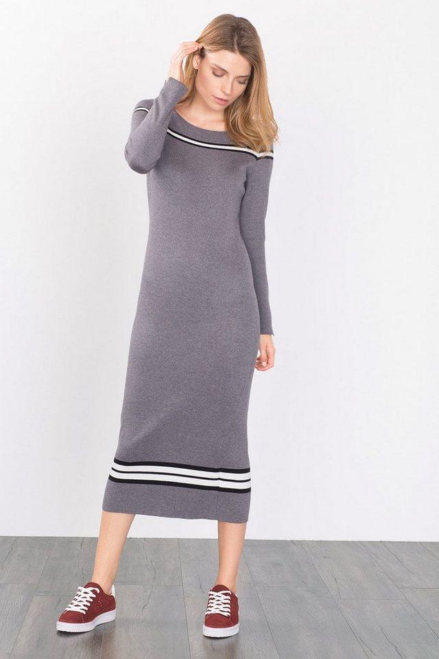 ESPRIT CASUAL Tailliertes Kleid aus dichtem Feinstrick in GREY