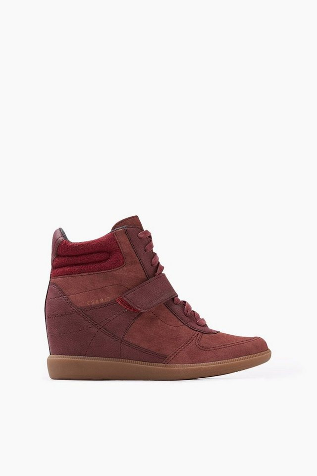 ESPRIT CASUAL High Top Sneaker Wedges in BORDEAUX RED