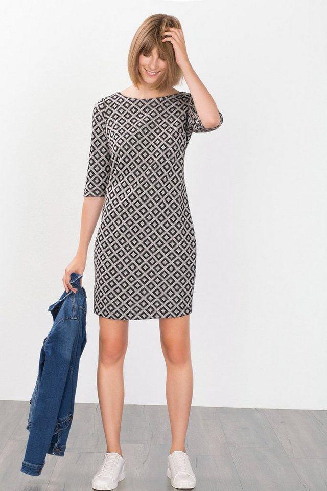 ESPRIT CASUAL Jersey-Kleid mit Jacquardmuster in BLACK