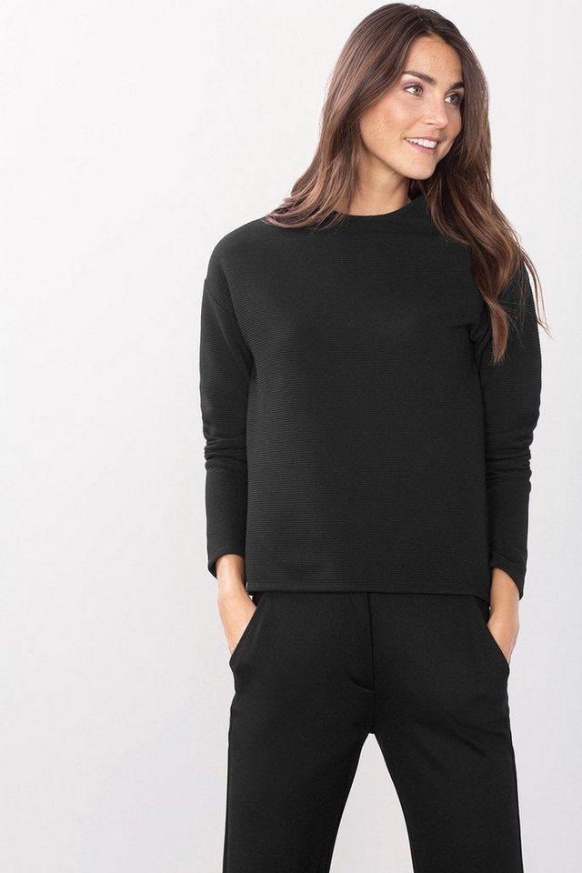 ESPRIT CASUAL Struktur-Sweatshirt im Boxy-Stil in BLACK