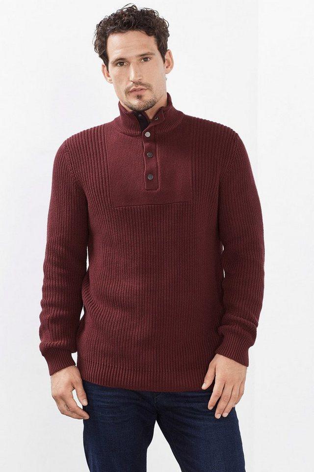 ESPRIT CASUAL Troyer aus Rippenstrick, 100% Baumwolle in GARNET RED