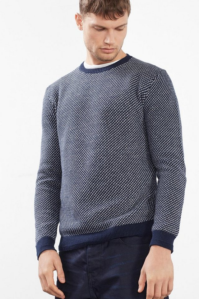 ESPRIT CASUAL 2 Tone Pulli aus Baumwoll-Mix mit Wolle in NAVY
