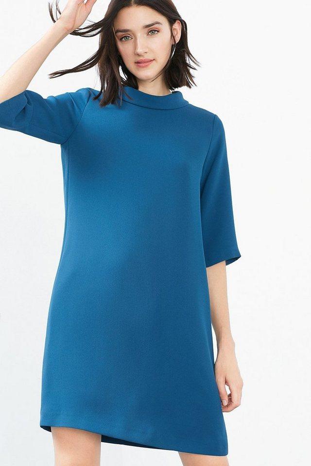 ESPRIT COLLECTION Crepe-Kleid mit Umschlagkragen in PETROL BLUE