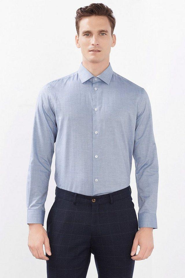 ESPRIT COLLECTION Fischgrat Hemd aus 100% Baumwolle in BLUE