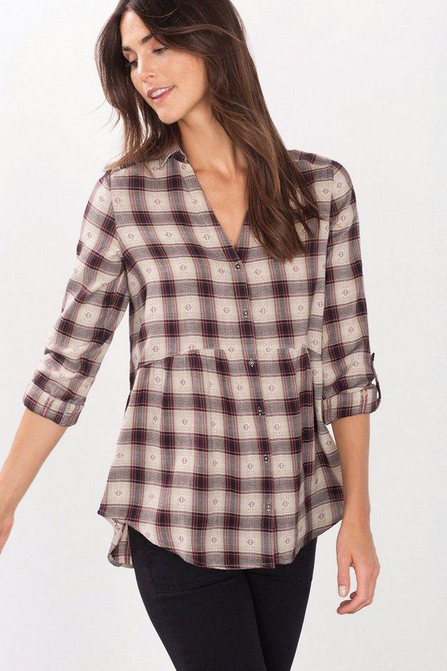 ESPRIT CASUAL Karo-Bluse mit Y-Ausschnitt in SAND
