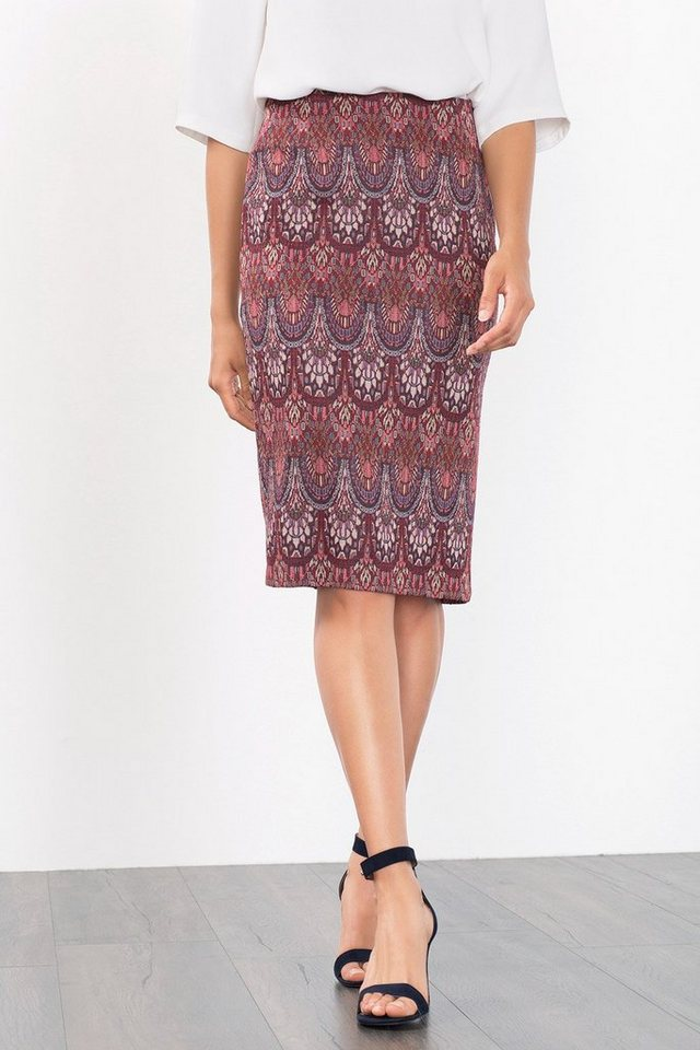 ESPRIT COLLECTION Stretch Jacquard-Stiftrock in GARNET RED