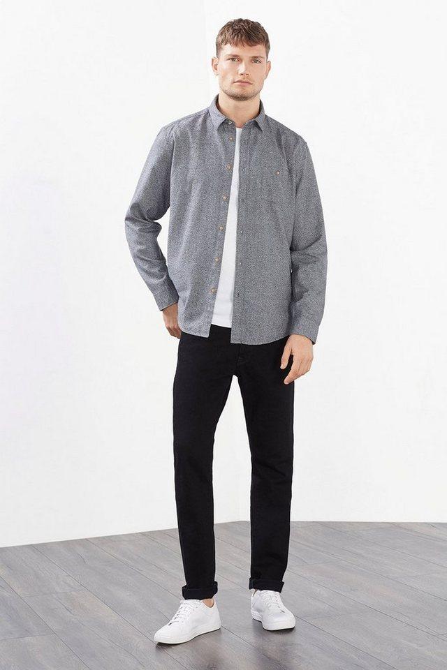 ESPRIT CASUAL Hemd mit Melange-Effekt, reine Baumwolle in GREY