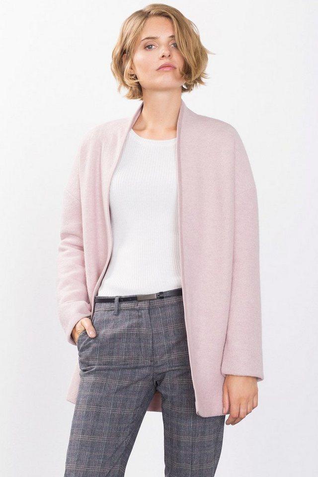 ESPRIT COLLECTION Offener Mantel aus gekochter Wolle in PASTEL PINK