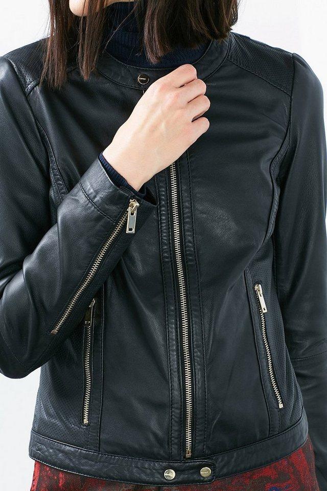ESPRIT COLLECTION Lederjacke im Strukturmix mit Zippern in BLACK