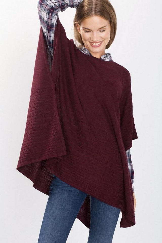EDC Weicher Feinstrick-Poncho in BORDEAUX RED