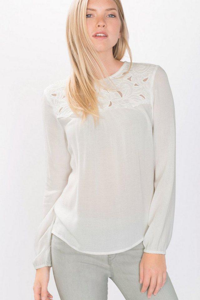 EDC Fließende Crinkle-Bluse mit Spitze in OFF WHITE