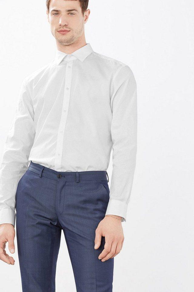 ESPRIT COLLECTION Hemd mit Punktstruktur, 100% Baumwolle in WHITE