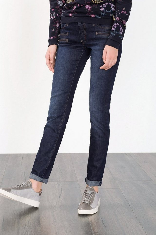 EDC Stretch-Jeans mit Zipper-Details in BLUE DARK WASHED