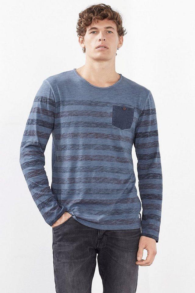 EDC Spray-Effekt Jersey Shirt, 100% BW in NAVY