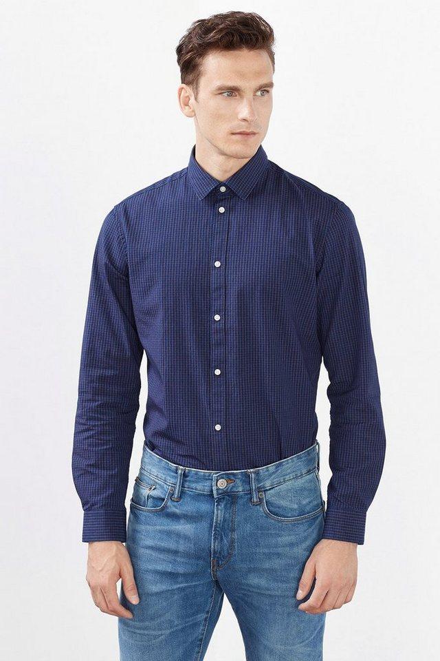 ESPRIT COLLECTION Hemd mit kleinem Karo, 100% Baumwolle in NAVY