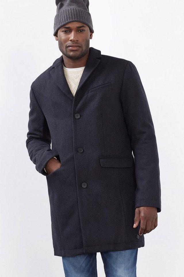 EDC Wattierter Mantel aus Schurwoll-Mix in DARK GREY