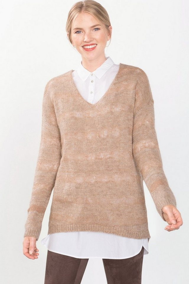 EDC Gestreifter Mouliné-Pulli mit Wolle in BROWN
