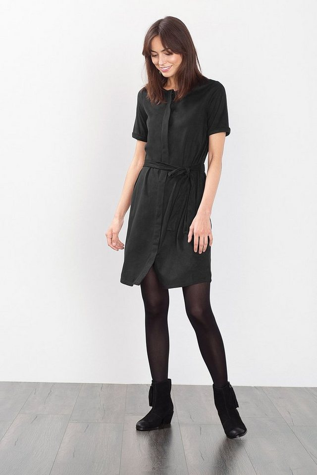 ESPRIT CASUAL Samtig weiches Velours-Kleid in BLACK