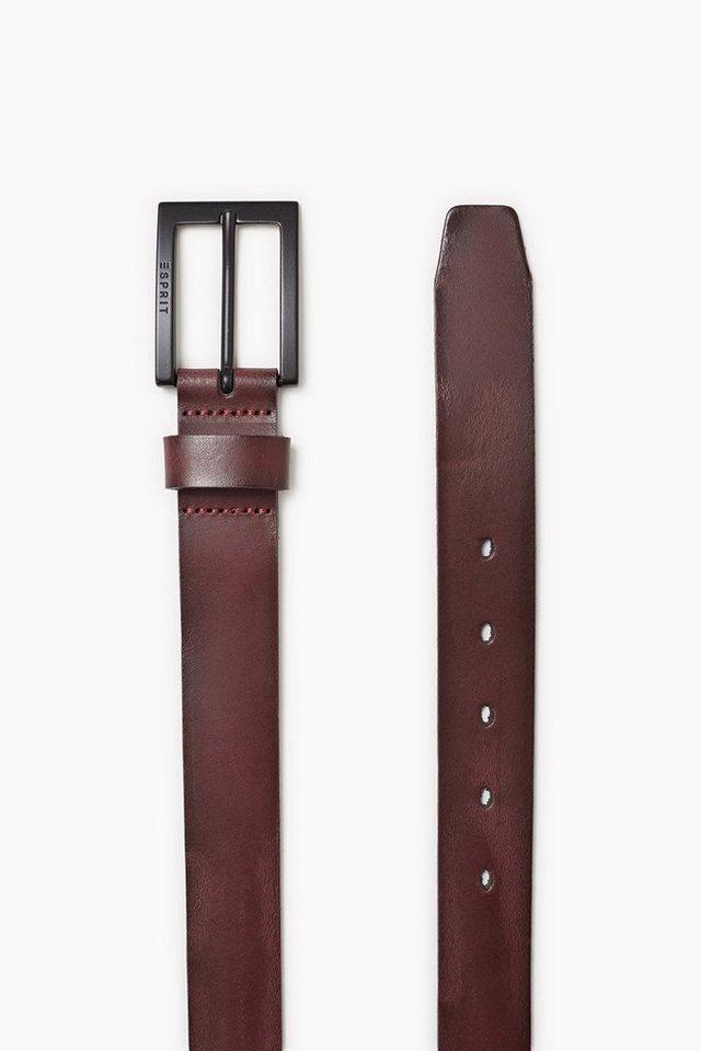 ESPRIT CASUAL Vintage Ledergürtel mit Metallschließe in AUBERGINE