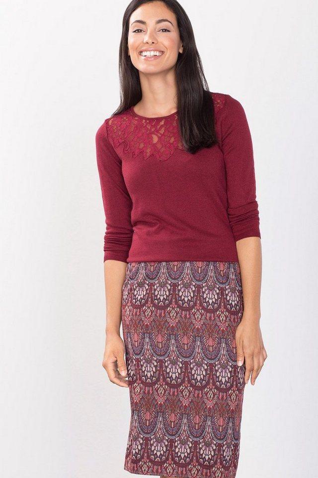 ESPRIT COLLECTION Feinstrick-Sweater mit Spitzeneinsatz in GARNET RED