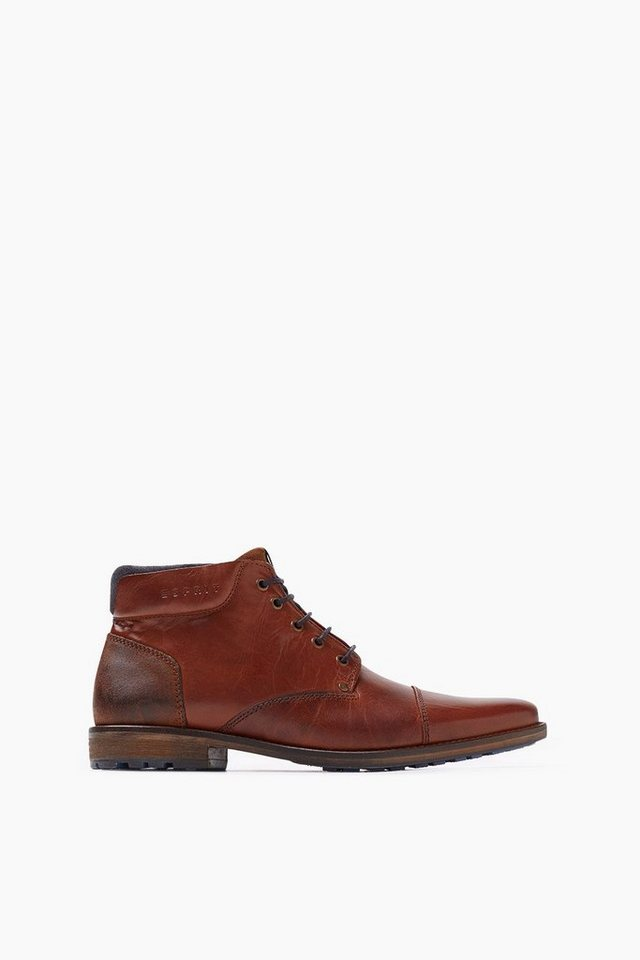 ESPRIT CASUAL Leder Stiefelette in RUST BROWN