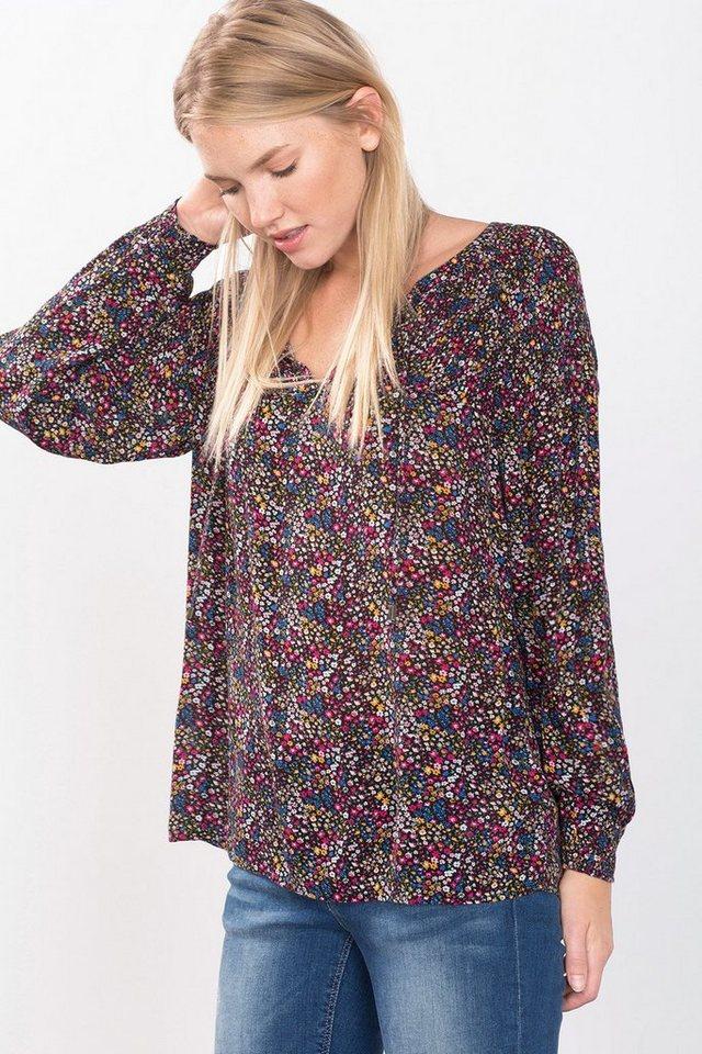 ESPRIT CASUAL Millefleur-Bluse mit geraffter Schulter in BLACK