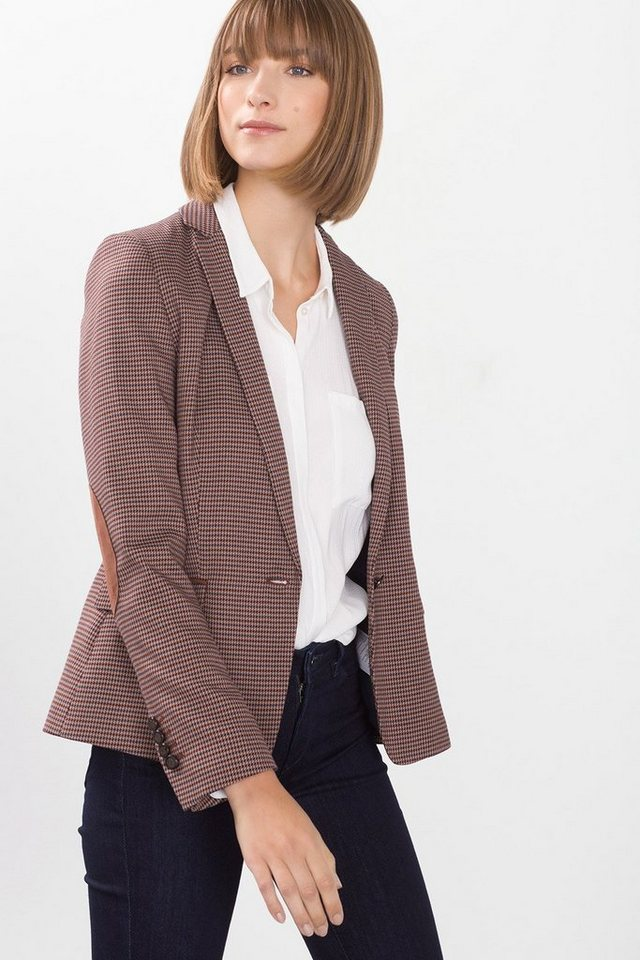 ESPRIT COLLECTION Hahnentrittmuster-Blazer mit Patches in CAMEL