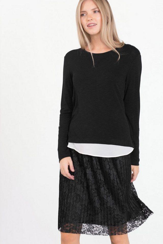 ESPRIT COLLECTION Slub-Jersey-Shirt mit Chiffon-Layer in BLACK