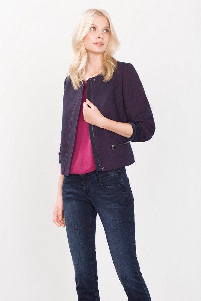 ESPRIT COLLECTION Kurze Blazerjacke in Two Tone Webstruktur in NAVY
