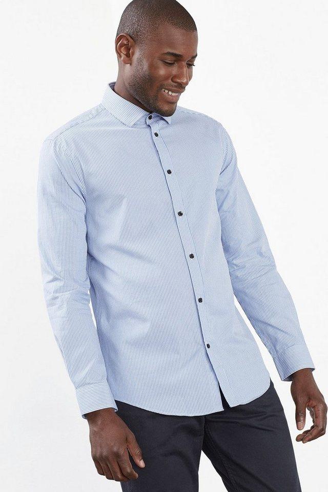 ESPRIT COLLECTION Streifen Hemd, 100% Baumwolle in NAVY
