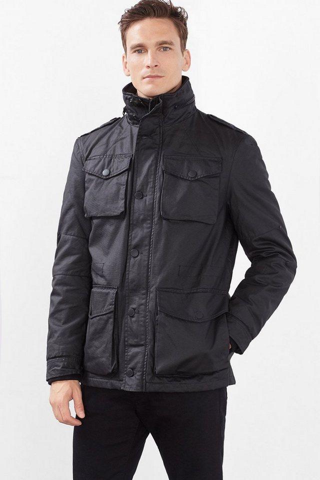 ESPRIT CASUAL Beschichtete und wattierte Baumwoll-Jacke in BLACK