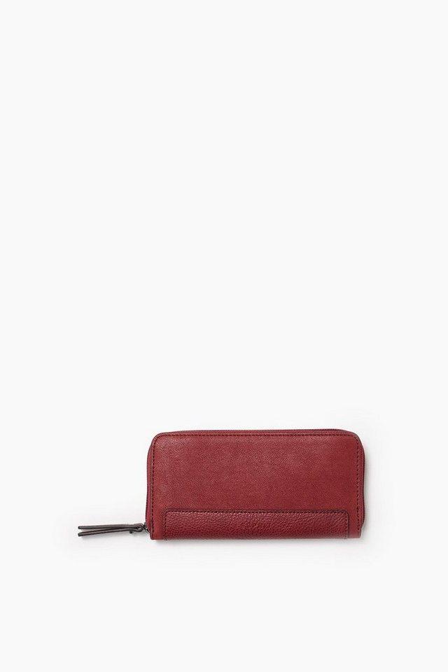 ESPRIT CASUAL Zippbörse aus Material-Mix in Lederoptik in GARNET RED