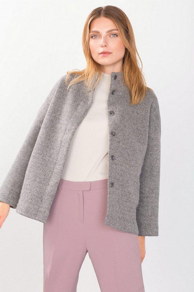 ESPRIT CASUAL Jacke aus dichtem Strick in LIGHT GREY